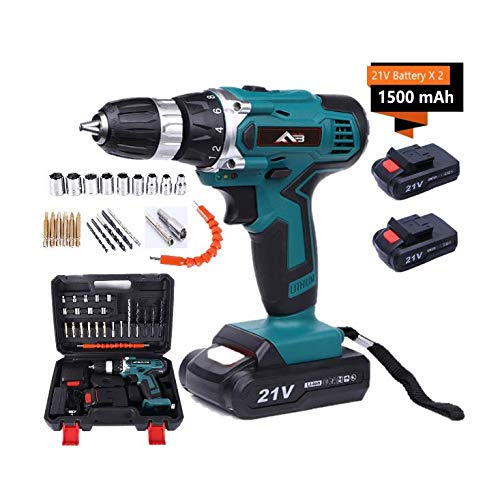 bon à choisir Flybiz 1650 / min Cordless drill with LED light, professional cordless drill / driver, 21 V lithium-ion battery, 2 x 1.5 Ah battery, 60 minutes fast charge, with 23 accessories
