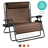 Best Choice Products 2-Person Double Wide Outdoor Folding Zero Gravity Chair Patio Lounger w/Cup Holders -Brown