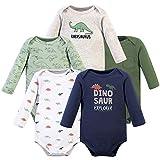 Hudson Baby Unisex Baby Cotton Long-sleeve Bodysuits, Dinosaur Explorer, 0-3 Months