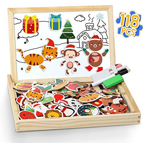lenbest 118 PCS Puzzle Magnetico Legno, Tema Natalizio Giocattolo di Legno con Lavagna a Double Face - 1 Puzzle di Scena di Natale e 3 Carte di Sfondo - Giochi Educativi per Bambini