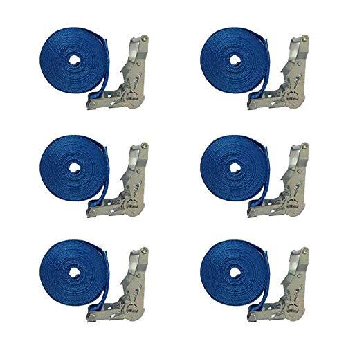 Bouwbenodigdheden 6X spanband/sjorriem - 35 mm - 6 meter - eendelig - vastzetten van de lading