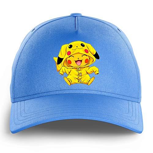 OKIWOKI Pokémon Lustiges Himmelblau Kinder Kappe - Pikachu - Ultimate Cosplay (Pokémon Parodie) (Ref:880)