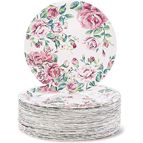 Set di piatti usa e getta per feste, motivo floreale, 80 pezzi, 23 cm