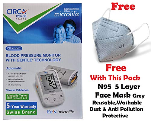 CIRCA 120/80 Practo World's Most Validated Fully Automatic Digital Blood Pressure Monitoring Machine with Intellisense Gentle+ Technology for Accurate BP Measurement at Home (White)