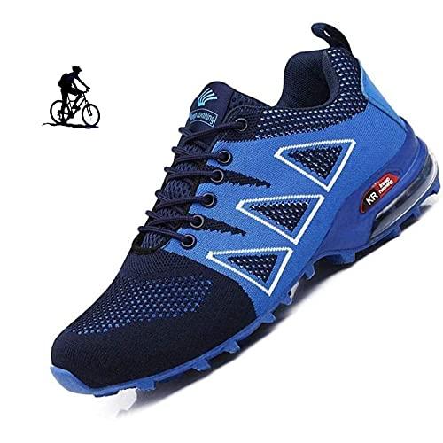 WYUKN Zapatillas de Ciclismo,Calzado de Ciclismo para Hombre, Zapatillas de Bicicleta de Carretera Zapatillas de Bicicleta de Montaña Zapatillas MTB,Blue-41EU