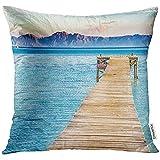 QDAS Paisaje con embarcadero en el mar de la Playa de Alcudia Platja de Muro España Mallorca Mediterráneo Almohada Decorativa Funda de Almohada