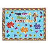 Fun Express Piece of Gods Plan Bulletin Board Set - 48 Pieces - Religious and Sunday School Decor