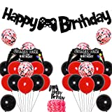 Video Game Birthday Decoration for Boys Red Black Video Game Gaming Theme Party Supplies Balloons Game on Happy Birthday Banner Cake Topper Game Controller Balloon