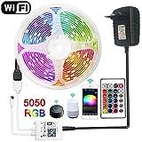 Tira de LED 12v WiFi Tira de luces LED Cinta impermeable RGB Cinta de diodo flexible Cinta remota Luz LED-IR_Set_With_Battery_15m_Set