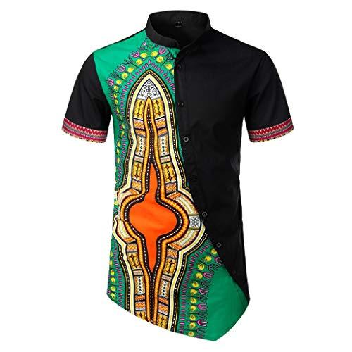 YEBIRAL Polos Manga Corta Hombre,Verano Patchwork Estilo Nacional Africano con Botones Túnica Tops Pullover Camisetas Hombre Basicas Blusa Camisas(L,Verde)