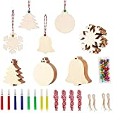 40Pcs DIY Wooden Christmas Ornaments for Kids Christmas Craft Unfinished Wood Slices with Hole for Christmas Tree Hanging Decorations Wood Slices for Kids Paint