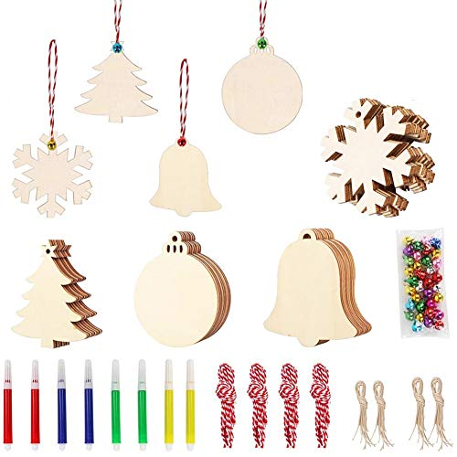 Brandless COMILY 40Pcs DIY Wooden Christmas Ornaments for Kids Christmas Craft Unfinished Wood Slices with Hole for Christmas Tree Hanging Decorations Wood Slices for Kids Paint