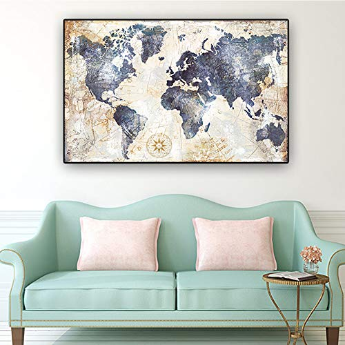 zgwxp77 Aquarell Weltkarte Wandkunst Poster und Drucke Wohnzimmer Dekoration Leinwand Malerei Wandbild30X40cm ohne Rahmen
