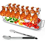 Outamateur Chicken Leg Wing Grill Rack 14 Slots Stainless Steel Roaster Stand BBQ Chicken Drumsticks Rack with Drip Tray and Barbecue Tongs for Picnic or BBQ