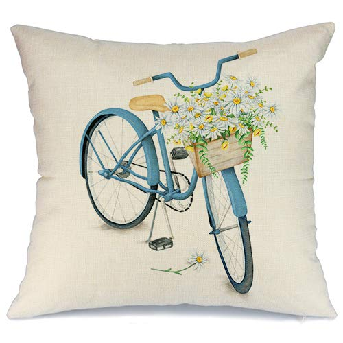 AENEY Blue Bicycle and Flower Spring Pillow Cover 18x18 for Couch Farmhouse Spring Decorations Decorative Throw Pillows