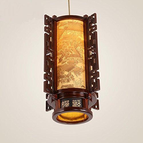 WINZSC Nouveau Style Chinois Unique Pendentif Lumières Classique Lanterne en Bois Massif sculpté Restaurant Salle à Manger Salle d'étude Couloir LU808148