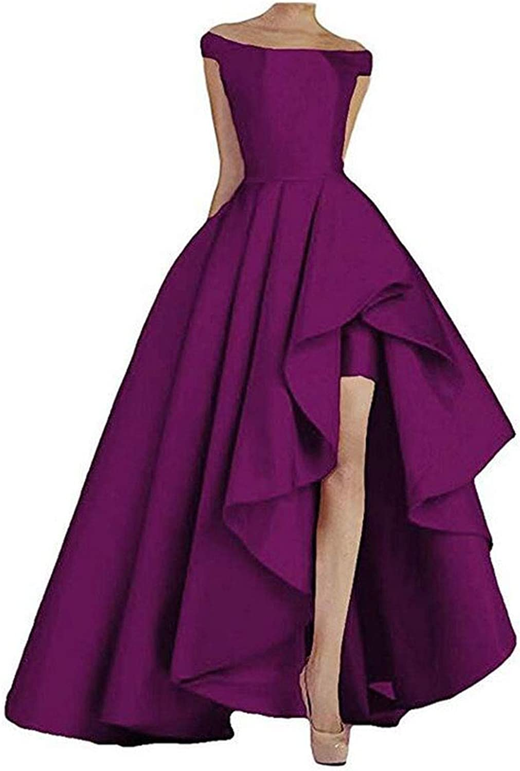Tsbridal Women's Long Off Shoulder Bridesmaid Dresses High Low Prom Dresses Lace Up Evening Party Formal Gowns