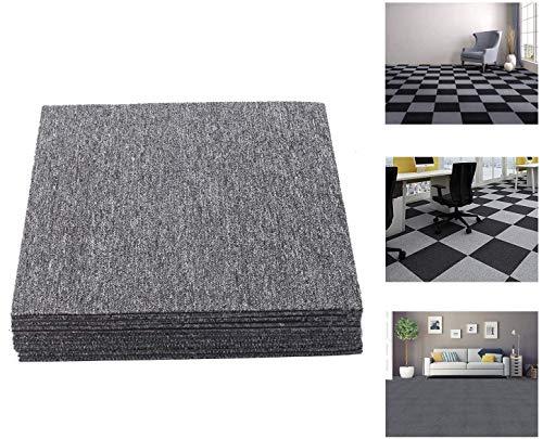 uyoyous 20 Stück Teppichfliesen, 50x50cm, Strapazierfähig, mit Klebepatch, für Alle Bereiche, Home Office, Bedroom, Anti-Rutsch, Dunkelgrau