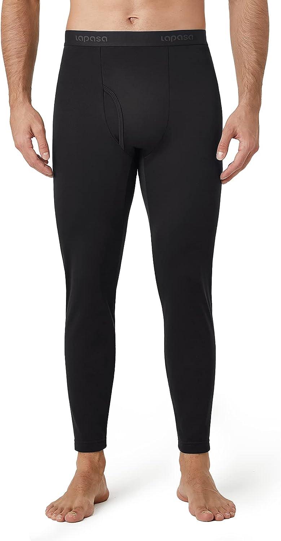 LAPASA Mens Thermal Underwear Bottom, Fleece Lined Long Johns Light/Mid/Heavy Weight Pants 1&2 Packs (Thermoflux M10/M56/M25)