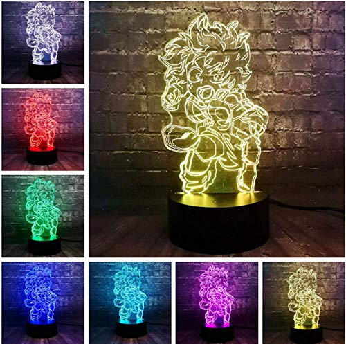 Cartoon Lava 3D My Academia Figure Green Valley Out Long LED 7 Couleur Charge USB Base Home Decor Night Light Kids Gift Toy
