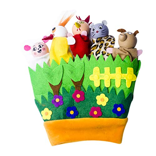 Amosfun – Peluche de animales de dedo marioneta Juguetes Mini Plush Figuras de juguete suave manos dedo marionetas juego para Navidad bolsa de relleno (amarillo) Talla 1 verde