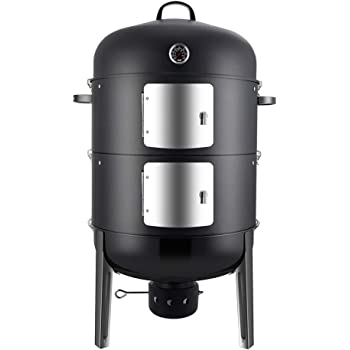 Realcook Charcoal BBQ Smoker Grill - 20 Inch Vertical Smoker for Outdoor Cooking Grilling