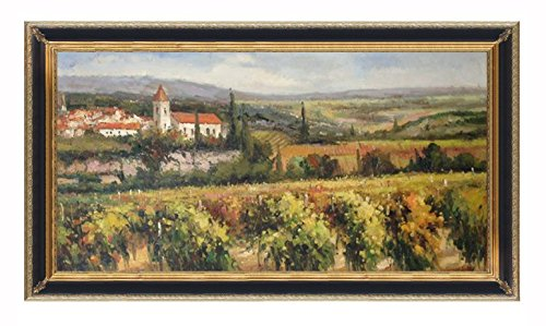 "Hand Painted 24"" X 48"" Canvas Oil Painting for Wall Art Decor, Italian Style Tuscany Vineyard Oil Painting (55.5"" X 31.5"", Mahogany) Other Frame Options Available"