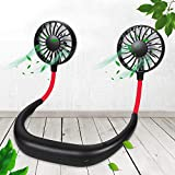 HOKLAN Wearable Personal Mini Fan, Hands-Free Portable Sports Fan with 3 Adjustable Speeds, Electric Foldable Fan for Office Gym Indoor Outdoor Use, Dual Fan Heads, 7 Plastic Blades, Working Max 10H