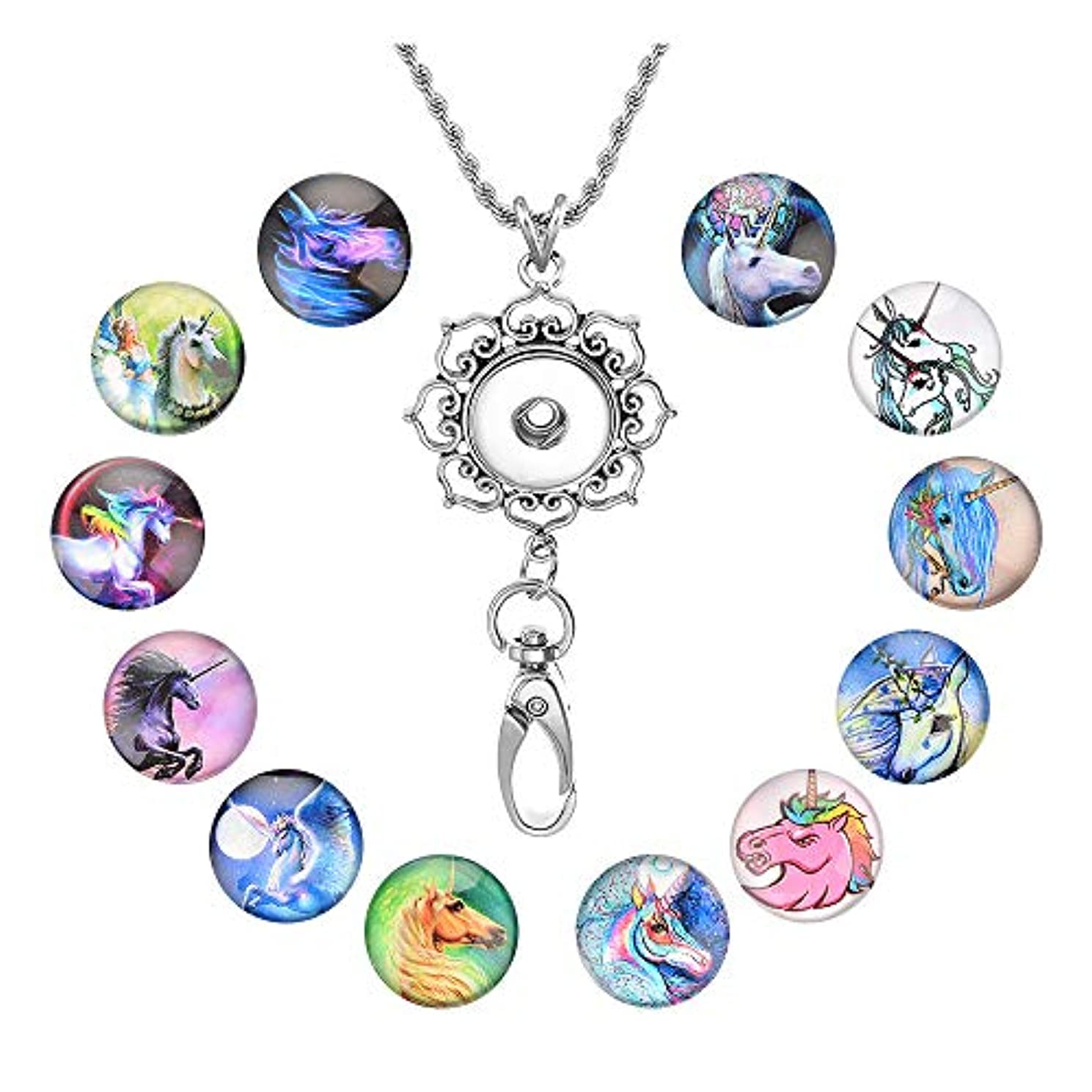 Souarts Womens Office Lanyard ID Badges Holder Necklace with 12pcs Horse Pattern Glass Snap Jewelry Charms Pendant Clip