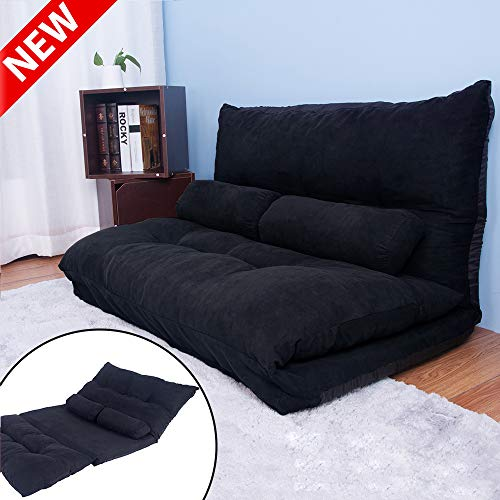 DANGRUUT Thicken Upgraded Version Foldable Floor Sofa Bed with 5 Adjustable Reclining Position, Comfortable Japanese Floor Futon Couch, Folding Video Gaming Lazy Lounge Sofa Bed with 2 Pillows (Black)