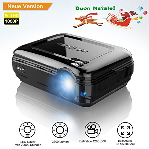 LCD Beamer, LESHP LED Video Projector Mini Portable Projector 3200 Lumens 1080P Multimedia Home Theater Video Projector Support Smartphone/Blu-ray/DVD Player/ Laptops/Tablets,Black
