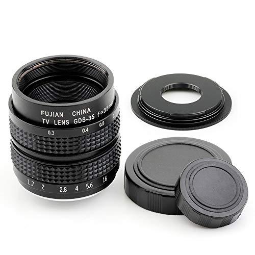 Pixco - Kit di lenti 35 mm F1.7 CCTV per fotocamera con montaggio a C + obiettivo da 16 mm con montaggio C su Micro Quattro Terzi 4/3 obiettivo fotocamera adattatore obiettivo (35 mm F1.7 per C+C-M43)