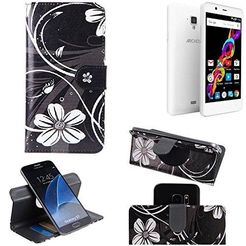 K-S-Trade® Schutzhülle Für Archos 50 Titanium 4G Hülle 360° Wallet Case Schutz Hülle ''Flowers'' Smartphone Flip Cover Flipstyle Tasche Handyhülle Schwarz-weiß 1x
