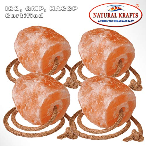 Natural Krafts 4 x HIMALAYAN SALT LICK FOR HORSES,CATTLE,COW,SHEEP, MINERAL,EQUINE USE ONLY WITH HANGING ROPE 2-2.5KG Approx