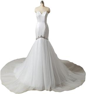 886fcd241cd Chugu Women s Mermaid Wedding Dresses for Bride Long Evening Formal Dress  Plus Size Beaded C92