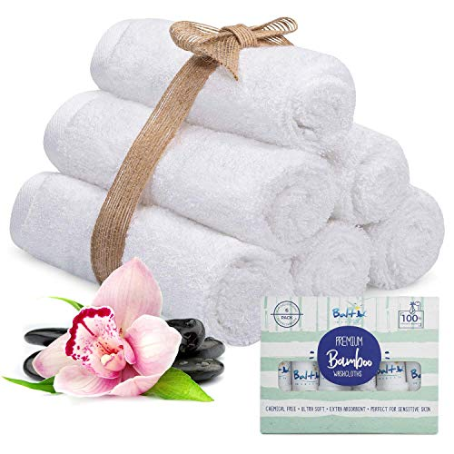 Bamboo Baby Washcloths Organic – with A Soft Cotton Blend Perfect for Face Towels, Hands, Sensitive Skin and Newborn - Natural Reusable Wipes and Ultra Absorbent - Perfect Newborn Essential.