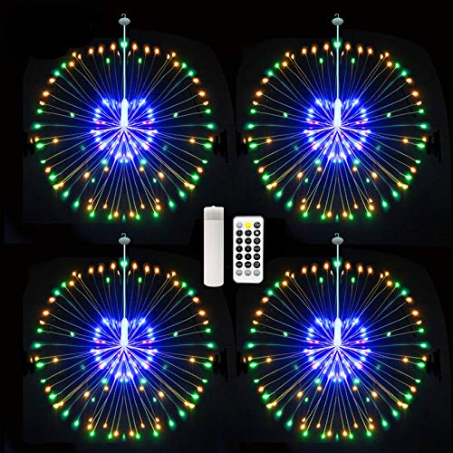 4 Packs Starburst Light, KOFOHO Fireworks LED String Lights USB Rechargeable Battery Operated Fairy Lights with 8 Modes Remote, IP67 Waterproof Outdoor Indoor for Christmas Party Yard Decoration