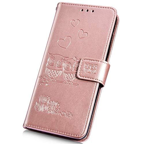Surakey - Funda de piel sintética con tapa para Huawei P8 Lite 2017, diseño de búho, piel sintética, tarjetero, cierre magnético, función atril, color oro rosa