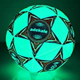 Sunsea Glow in The Dark Size 5 Soccer Ball Light up Star Soccer Ball-Official Size and Weight Ball (Green-Light)