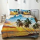 Juego de funda nórdica beige, puesta de sol de hadas sobre el mar con las palmeras en la playa en una isla caribeña en Barbados, juego de cama decorativo de 3 piezas con 2 fundas de almohada Easy Care