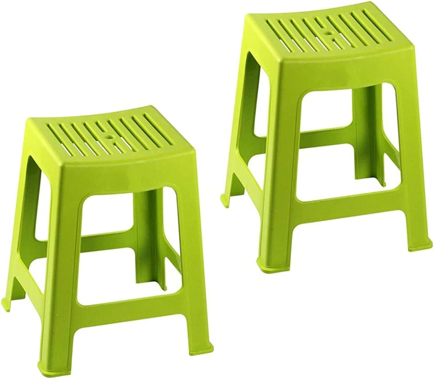 AGLZWY 2-Piece Set Low Stool Bathroom Multipurpose Plastic High Waterproof Strong Bearing Capacity Anti-Slip Portable Fashion Living Room Change shoes Bench (color   Green, Size   28X25X44CM)