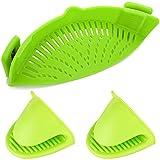 YuCool, colino in silicone con clip resistente al calore, per avere entrambe le mani libere; si adatta a pentole, zuppiere, padelle, include i guanti abbinati, colore verde