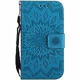 Dfly Galaxy S3 Hülle, Galaxy S3 Neo Hülle, Premium Slim PU Leder Mandala Blume prägung Muster Flip Hülle Bookstyle Stand Slot Schutzhülle Tasche Wallet Case für Samsung Galaxy S3 / S3 Neo, Blau