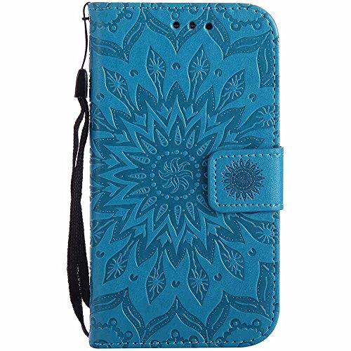 Dfly Galaxy S3 Hülle, Galaxy S3 Neo Hülle, Premium Slim PU Leder Mandala Blume prägung Muster Flip Hülle Bookstyle Stand Slot Schutzhülle Tasche Wallet Hülle für Samsung Galaxy S3 / S3 Neo, Blau