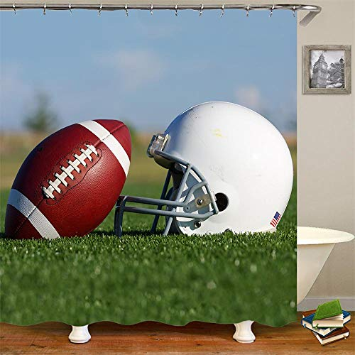 Duschvorhang Rugby American Football Gym Weiß US Flagge Helm National Football League Fußball Sport Leder Oval Grün Badezimmer Dekor Zubehör Badvorhang mit Haken