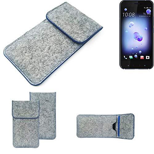 K-S-Trade Filz Schutz Hülle Für HTC U11 Dual-SIM Schutzhülle Filztasche Pouch Tasche Hülle Sleeve Handyhülle Filzhülle Hellgrau, Blauer Rand