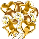 Juego de globos de cumpleaños, 14 unidades, decoraciones de fiesta de cumpleaños, globos de látex dorados/globos de confeti dorados/globos de papel de estrella dorada, globos de fiesta para cumpleaños