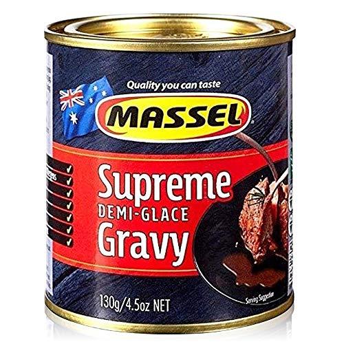 Massel Gravy Powder - Vegano, Sin Gluten, Certificado Kosher, Sabor Supremo Demi-Glace - 130g, Paquete de 6 Mezcla de Salsa Instantánea