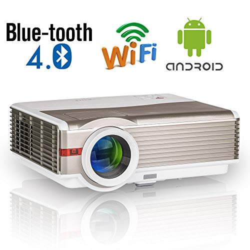 HD Smart Projector with Bluetooth Wifi LED 5000 Lumens Wxga LCD Wireless Video Projectors with Android HDMI USB VGA AV Audio Support 1080P for Smartphone Laptop TV Box PC DVD Game Consoles