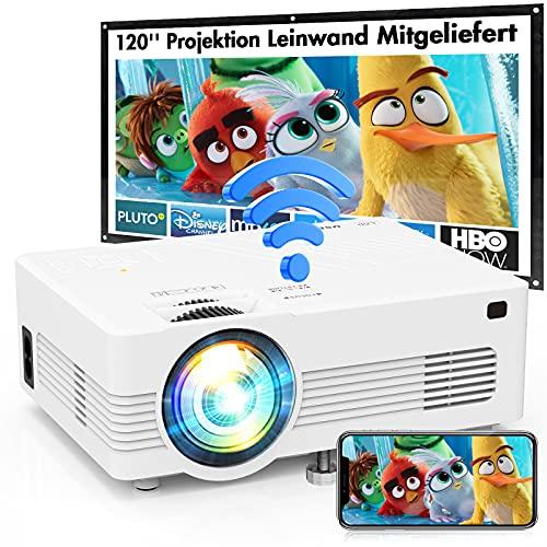 WiFi Beamer AK-83 Mit 120″ Screen, 7000 Lumens Beamer Full HD 1080P Unterstützt, Wireless Beamer Bildschirm Synchronisierung, Heimkino Projektor Kompatibel mit TV-Stick Smartphone & Tablet HDMI USB.